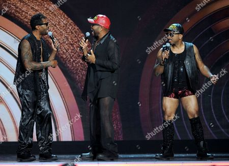 From left, Deon Cole, Anthony Anderson and Carl Payne perform onstage at the 2013 Soul Train Awards at the Orleans Arena on in Las Vegas