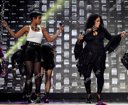 Jennifer Hudson, left, and Evelyn 'Champagne' King perform onstage at the 2013 Soul Train Awards at the Orleans Arena on in Las Vegas