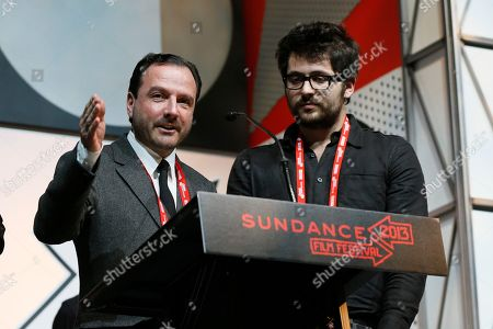 """Directors Mike Lerner and Maxim Pozdorovkin accept the World Cinema Documentary: Special Jury Award for """"Pussy Riot - A Punk Prayer"""" during the 2013 Sundance Film Festival Awards Ceremony on in Park City, Utah"""
