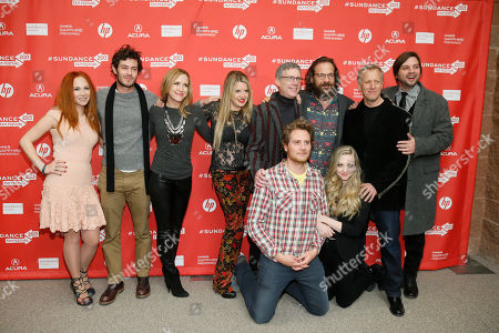 """Clockwise from top left, actors Juno Temple and Adam Brody, producers Laura Rister and Heidi Jo Markel, co-director Jeffrey Friedman, actor Peter Sarsgaard, co-director Rob Epstein, producer Jim Young and actors Amanda Seyfried and Brian Gattas pose together at the premiere of """"Lovelace"""" during the 2013 Sundance Film Festival on in Park City, Utah"""