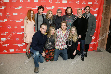 """Clockwise from top left, actors Juno Temple and Adam Brody, producers Laura Rister, co-director Jeffrey Friedman, actor Peter Sarsgaard, co-director Rob Epstein, producer Jim Young, actress Amanda Seyfried, actor Brian Gattas, producer Heidi Jo Markel and actor Chris Noth pose together at the premiere of """"Lovelace"""" during the 2013 Sundance Film Festival on in Park City, Utah"""