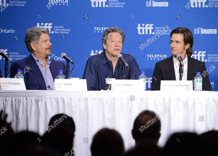 "Director John Wells, left, actor Chris Cooper, and actor Dermot Mulroney attend the press conference for ""August: Osage County"" on day 6 of the 2013 Toronto International Film Festival at the TIFF Bell Lightbox on in Toronto"