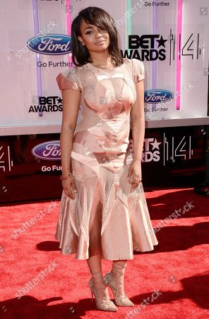 Kyla Pratt arrives at the BET Awards at the Nokia Theatre, in Los Angeles