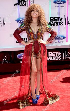 Nadia Buari arrives at the BET Awards at the Nokia Theatre, in Los Angeles