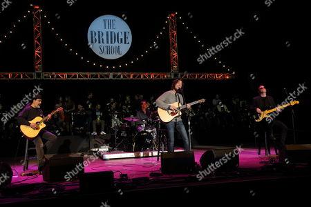 Kim Thayil, Matt Cameron, Chris Cornell, Ben Shepherd (L-R) and Soundgarden perform at the 2014 Bridge School Benefit at the Shoreline Amphitheatre in Mountain View California on