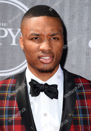 Portland Trailblazers' Damian Lillard arrives at the ESPY Awards at the Nokia Theatre, in Los Angeles