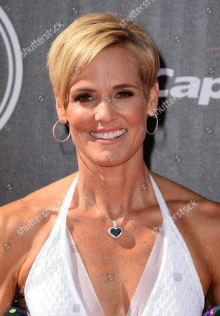 Olympian swimmer Dara Torres arrives at the ESPY Awards at the Nokia Theatre, in Los Angeles