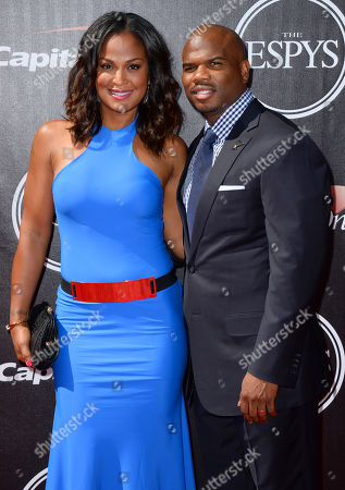 Former boxer Laila Ali and former NFL football player Curtis Conway arrives at the ESPY Awards at the Nokia Theatre, in Los Angeles