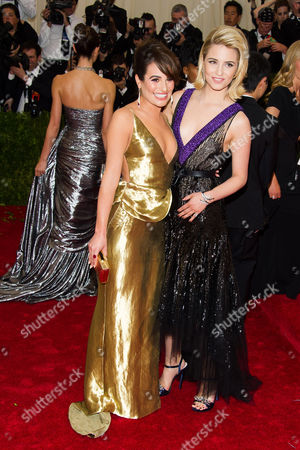 Lea Michele, left, and Dianna Agron attend The Metropolitan Museum of Art's Costume Institute benefit gala celebrating 'Charles James: Beyond Fashion', in New York