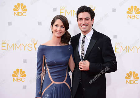 Michelle Mulitz and Ben Feldman arrives at the 66th Annual Primetime Emmy Awards at the Nokia Theatre L.A. Live, in Los Angeles