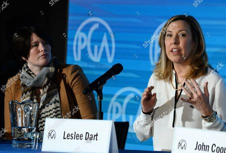 Jessica Lacy, left, and Leslee Dart are seen during The Best Fest Quest: Maximizing Returns on Your Film Festival Submission panel sponsored by Landmark Theatres at the 2014 Produced By Conference - Day 1 at Warner Bros. Studios, in Burbank, Calif