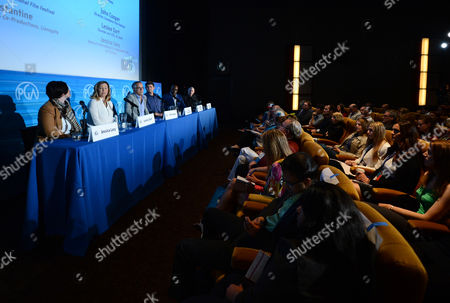 Stock Image of From left, Jessica Lacy, Leslee Dart, John Cooper, Jason Constantine, Cameron Bailey, and Joshua Astrachan seen during The Best Fest Quest: Maximizing Returns on Your Film Festival Submission panel sponsored by Landmark Theatres at the 2014 Produced By Conference - Day 1 at Warner Bros. Studios, in Burbank, Calif