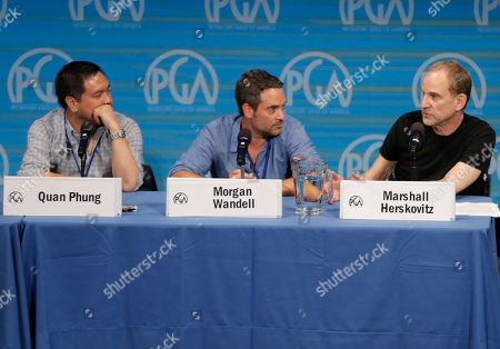 From left, Quan Phung, Morgan Wandell, and Marshall Herskovitz are seen during The Revolution Has Just Been Televised: The Disrupted Landscape of TV panel at the 2014 Produced By Conference - Day 1 at Warner Bros. Studios, in Burbank, Calif