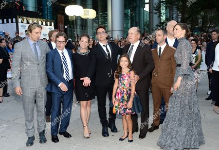 """Actor Dax Shepard, left, director David Dobkin, actor Robert Downey Jr., producer Susan Downey, actress Emma Tremblay, actor Robert Duvall, actor Jeremy Strong, actress Vera Farmiga and actor Vincent D'Onofrio attend the opening night gala premiere of """"The Judge"""" during the 2014 Toronto International Film Festival, in Toronto"""