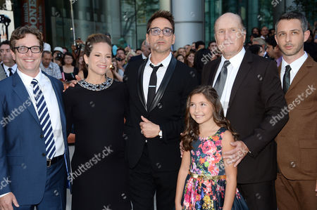 """Stock Picture of Director David Dobkin, left, producer Susan Downey, actor Robert Downey Jr., actress Emma Tremblay, actor Robert Duvall and actor Jeremy Strong attend the opening night gala premiere of """"The Judge"""" during the 2014 Toronto International Film Festival, in Toronto"""