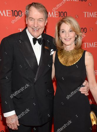 Charlie Rose and Amanda Burden arrive at the 2014 TIME 100 Gala held at Frederick P. Rose Hall, Jazz at Lincoln Center on in New York