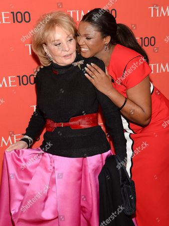 Barbara Walters, left, and Omotola Jalade Ekeinde arrive at the 2014 TIME 100 Gala held at Frederick P. Rose Hall, Jazz at Lincoln Center on in New York