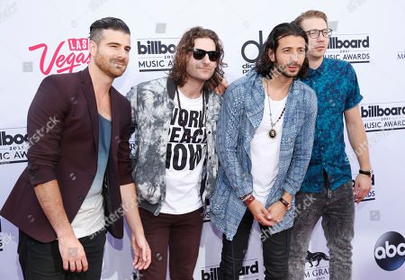 Nasri, Mark Pellizzer, Ben Spivak and Alex Tanas of Magic! arrive at the Billboard Music Awards at the MGM Grand Garden Arena, in Las Vegas