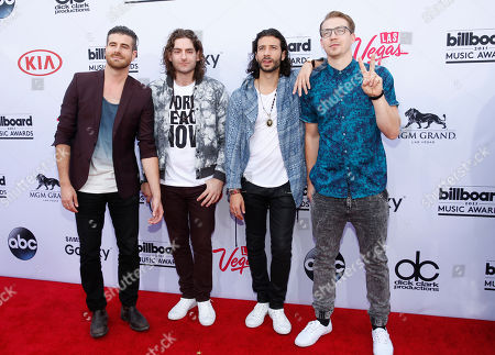 Stock Image of Nasri, Mark Pellizzer, Ben Spivak and Alex Tanas of Magic! arrive at the Billboard Music Awards at the MGM Grand Garden Arena, in Las Vegas