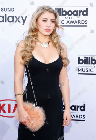 Lia Marie Johnson arrives at the Billboard Music Awards at the MGM Grand Garden Arena, in Las Vegas