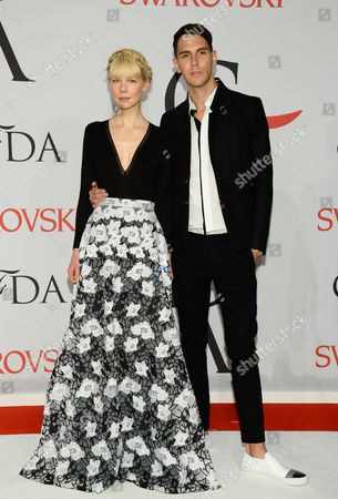 Erin Fetherston and Gabe Saporta arrive at the 2015 CFDA Fashion Awards at Alice Tully Hall, in New York