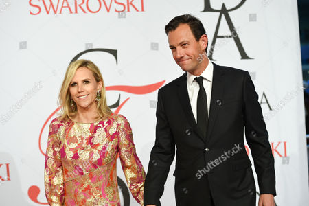 Pierre-Yves Roussel and Tory Burch arrive at the 2015 CFDA Fashion Awards at Alice Tully Hall, in New York