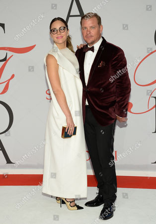 Katharine McPhee and Shane Baum arrive at the 2015 CFDA Fashion Awards at Alice Tully Hall, in New York