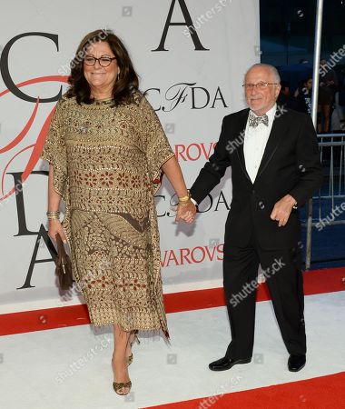 Fern Mallis and Stan Herman arrive at the 2015 CFDA Fashion Awards at Alice Tully Hall, in New York