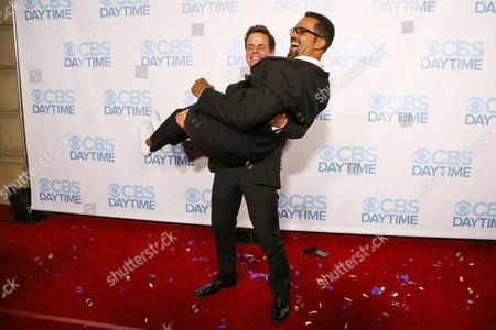 Stock Photo of Christian LeBlanc, left, and Kristoff St. John arrive at the 2015 Daytime Emmy Awards CBS After Party at The Hollywood Athletic Club, in Los Angeles