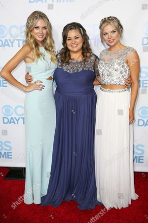 Melissa Ordway, from left, Angelica McDaniel and Kelli Goss arrive at the 2015 Daytime Emmy Awards CBS After Party at The Hollywood Athletic Club, in Los Angeles