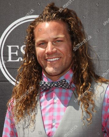 Rugby player Todd Clever, of the NTT Shining Arcs in Japan's Top League, arrives at the ESPY Awards at the Microsoft Theater, in Los Angeles