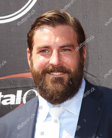 NFL player Todd Herremans, of the Indianapolis Colts, arrives at the ESPY Awards at the Microsoft Theater, in Los Angeles