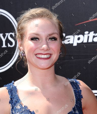 Stock Picture of College volleyball player Micha Hancock, of Penn State, arrives at the ESPY Awards at the Microsoft Theater, in Los Angeles