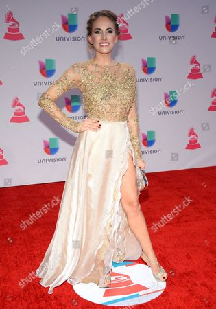 Erika Bruni arrives at the 16th annual Latin Grammy Awards at the MGM Grand Garden Arena, in Las Vegas
