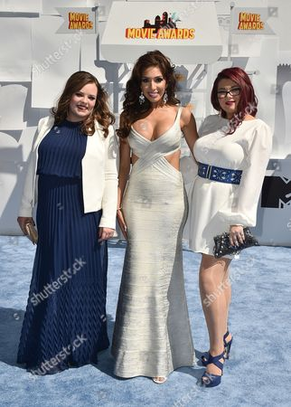 Stock Image of Catelynn Lowell, from left, Farrah Abraham, and Amber Portwood arrive at the MTV Movie Awards at the Nokia Theatre, in Los Angeles