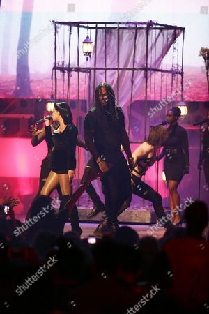 Mia Martina and Waka Flocka seen at the 2015 Much Music Video Awards at the Much Music HQ, in Toronto, Canada