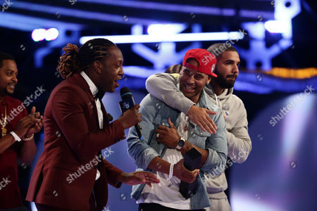 Stock Picture of Tyrone Edwards, from left, P Reign, and Drake speak onstage at the 2015 MuchMusic Video Awards at the MuchMusic HQ, in Toronto, Canada