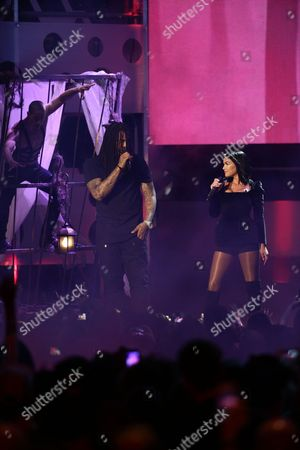 Stock Image of Waka Flocka and Mia Martina perform at the 2015 MuchMusic Video Awards at the MuchMusic HQ, in Toronto, Canada