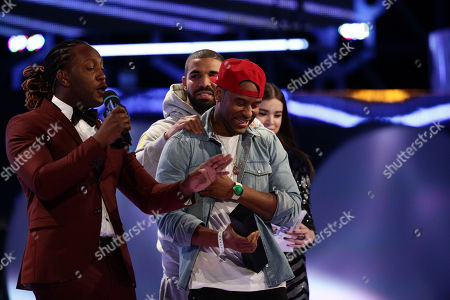 Tyrone Edwards, Drake and P. Reign seen at the 2015 Much Music Video Awards at the Much Music HQ, in Toronto, Canada