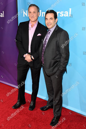 Dr. Terry J. Dubrow, left, and Dr. Paul Nassif arrive at the NBC Universal Summer Press Day at The Langham Huntington Hotel, in Pasadena, Calif