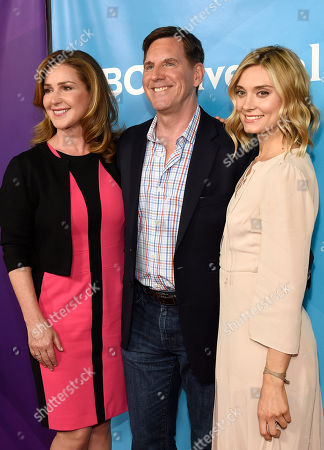 Peri Gilpin, from left, Tim Bagley and Spencer Grammer arrive at the NBC Universal Summer Press Day at The Langham Huntington Hotel, in Pasadena, Calif