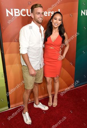 Jonny Drubel, left, and Dorothy Wang arrive at the NBC Universal Summer Press Day at The Langham Huntington Hotel, in Pasadena, Calif