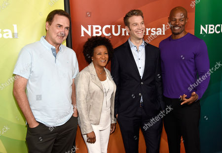 Norm MacDonald, from left, Wanda Sykes, Anthony Jeselnik and Keenen Ivory Wayans arrive at the NBC Universal Summer Press Day at The Langham Huntington Hotel, in Pasadena, Calif