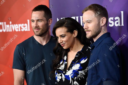 Luke Macfarlane, from left, Hannah John-Kamen and Aaron Ashmore arrive at the NBC Universal Summer Press Day at The Langham Huntington Hotel, in Pasadena, Calif