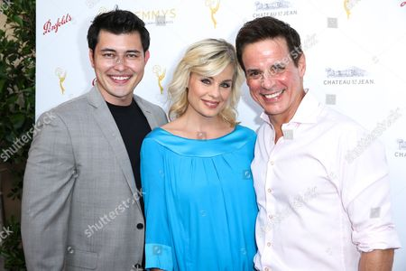 Christopher Sean, left, Jessica Collins and Christian LeBlanc arrive at the 2015 Performers Peer Group Celebration Presented by The Television Academy at the Montage Hotel, in Beverly Hills, Calif