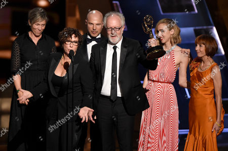 "Francis McDormand, left, Lisa Cholodenko, Gary Goetzman and the cast of ""Olive Kitteridge"" accept the award for outstanding limited series for â?oeOlive Kitteridgeâ?? at the 67th Primetime Emmy Awards, at the Microsoft Theater in Los Angeles"