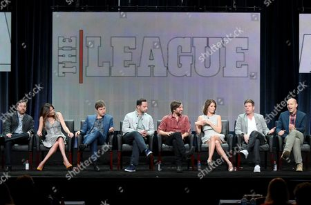 """Co-Creators/Executive Producers/Writers/Directors, from left, Jeff Schaffer, and Jackie Schaffer, and actors Mark Duplass, Nick Kroll, Jon Lajoie, Katie Aselton, Stephen Rannazzisi and Paul Scheer participate in """"The League"""" panel at the FX Summer TCA Tour at the Beverly Hilton Hotel, in Beverly Hills, Calif"""