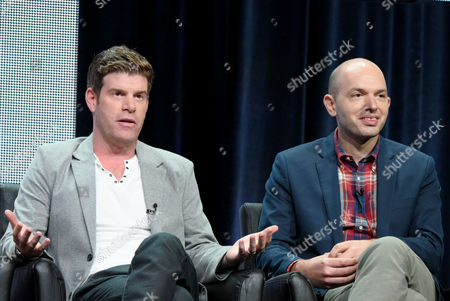 """Stephen Rannazzisi, left, and Paul Scheer participate in """"The League"""" panel at the FX Summer TCA Tour at the Beverly Hilton Hotel, in Beverly Hills, Calif"""