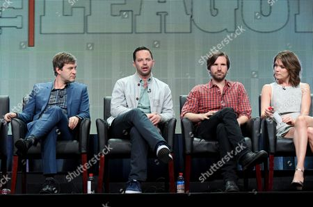 """Mark Duplass, from left, Nick Kroll, Jon Lajoie and Katie Aselton participate in """"The League"""" panel at the FX Summer TCA Tour at the Beverly Hilton Hotel, in Beverly Hills, Calif"""