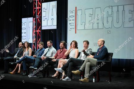 """Co-creators/executive producers/writers/directors, Jeff Schaffer, from left, Jackie Schaffer, and actors Mark Duplass, Nick Kroll, Jon Lajoie, Katie Aselton, Stephen Rannazzisi and Paul Scheer participate in """"The League"""" panel at the FX Summer TCA Tour at the Beverly Hilton Hotel, in Beverly Hills, Calif"""